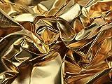 Spiegel Folie Kleid Stoff gold/schwarz–Meterware