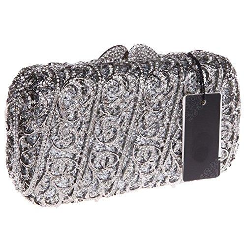 Damen Clutch Abendtasche Handtasche Geldbörse Glitzertasche Strass Kristall Kommt Lang Tasche mit wechselbare Trageketten von Santimon(5 Kolorit) Silber