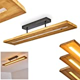 Adak Led-plafondlamp, dimbare plafondlamp van donker hout en metaal, donkergrijs, 27 watt, max. 3000 lumen, 3000 kelvin, mode