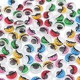 DEKOWEAR Wackelaugen mit Wimpern 100 Stück Zum basteln aus Kunststoff, Klebeaugen 10 mm Rund, DIY Deko Scrapbooking Kunsthandwerk Spielzeug Zubehör