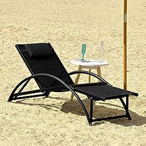 Sobuy ogs21 sch transat de jardin pliable bain de soleil for Fauteuil relax bain de soleil