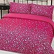 Dreamscene Glitz Gem Print Quilt Duvet Cover With Pillowcases Bedding Set Pink Double