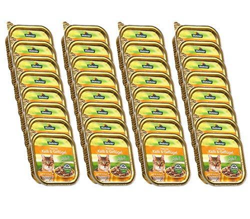 Dehner Katzenfutter, Paté Adult Kalb und Geflügel, 32 x 100 g (3.2 kg)