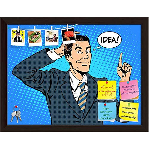 Artzfolio Businessman Idea Pop Art Printed Bulletin Board Notice Pin Board   Dark Brown Frame 15.7 X (Pop Art Ideen)