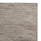 """URBANARA Teppich """"Gravlev"""" – 100% Woll-Baumwollmischung, Grau/Hellgrau mit Knotenstruktur, handgewebt – 140 x 200 cm – 1 rechteckiger Teppich"""