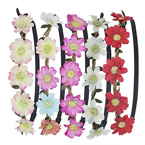 Stirnband Blumen, ZWOOS 5 Stück Stirnbänder Krone Haarband Kopfband Blume Haarbänder mit Elastischem Band für Hochzeit und Party (3 Stück Fallen Mädchen)