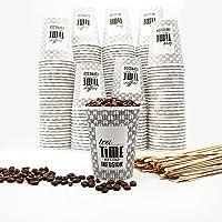 OnlyBP - 200 gobelets à café jetables de 240 ml avec agitateurs en bois, pour thé, café, boisons froides et chaudes