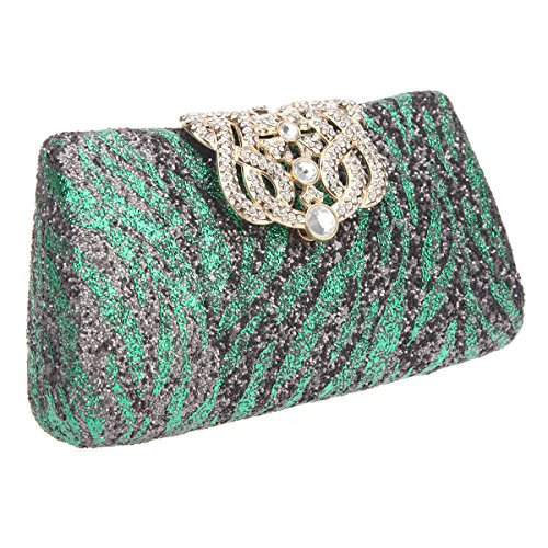 Bonjanvye Glitter Zebra Pattern Crown Clutch Purses and Evening Bags Green green