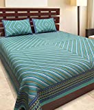 #1: Uniqchoice 144 TC Cotton Double Bedsheet with 2 Pillow Covers - King Size, Turquoise