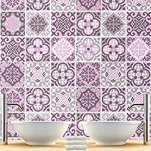 Vinilo Azulejos Patrón para Decoración Baño Pared Adornos Rosa (Caja de 32) - 10 x 10 cm
