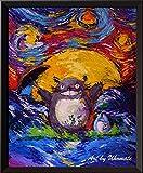 Uhomate Mon voisin Totoro au clair de lune Hayao Miyazaki Décoration murale Vincent van Gogh Nuit étoilée Posters Home sur toile Décoration murale anniversaire cadeaux Cadeau bébé Chambre d'enfant Décor Salon Décor mural A046, 8x10 inch
