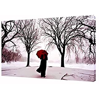 A GIRL WITH RED UMBRELLA ALONE IN WINTER WALL ART ON FRAMED CANVAS PHOTOS PICTURES 40 x 30 inch-18mm depth