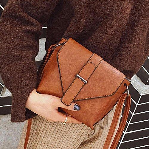 Domybest Kleine Umhängetaschen Frauen Messenger Bags PU-Leder Schulter Mädchen Handtaschen Braun