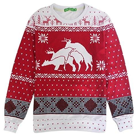 Bfustyle Rentier Druck Neuheit Crewneck Ugly Xmas Sweatshirt Top Shirts (M Und S Christmas Jumper)