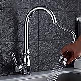 JRUIA Ausziehbarer Küche Wasserhahn 360°Schwenkbarer Küchenarmatur-Spültischarmatur mit Herausziehbarer Geschirrbrause Einhebel Mischbatterie Spüle armatur aus Messing (Chrom)