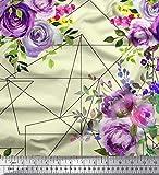Soimoi Gelb Satin Seide Stoff Dreieck, Blätter & Rose