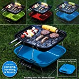 Square Portable Garden Barbeque Charcoal Bbq Table Grill Picnic Camping Barbecue (Red)