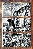 Monocrome, Römerhelm Fenster im 3D-Look, Wand- oder Türaufkleber Format: 62x42cm, Wandsticker, Wandtattoo, Wanddekoration