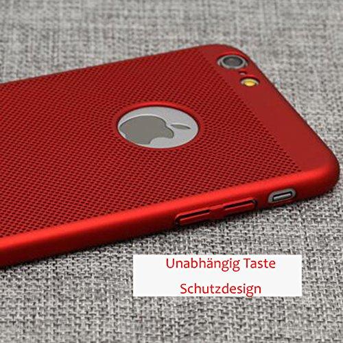 """Rot iPhone 8 Plus 3-in-1 PC Matte Hüll + Rot Vollständige Abdeckung Schutzfolie + Rot Ring Ständer,SUNAVY Anti-stoß Anti-Kratzer 360-Grad Rundum Schutzhülle für iPhone8 plus,5.5"""" Rot-4"""
