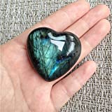 AITELEI pietra di luna cristallo labradorite Palm pietra di quarzo Healing amuleto a forma di cuore per Jewllery making Worry Stone Therapy Smooth Heart Shape