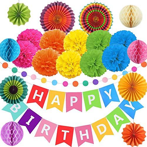 FOGAWA Party Dekoration Geburtstag Deko Happy Birthday Girlande Papier Pompoms Seidenpapier Wabenbälle Banner Fans Fächer für Mädchen Jungen Kinder
