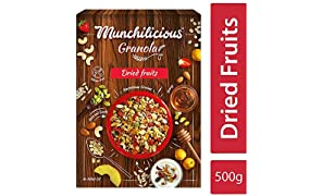 Munchilicious Natural Granola Cereal for Snacks - Dried Fruits (Pineapple, Strawberry and Apricot) - 500 gm