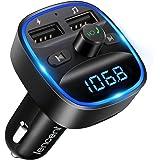 [2021 Versión] LENCENT Transmisor FM Bluetooth para Coche, Manos Libres Inalámbrico Reproductor MP3 Coche, Adaptador de Radio