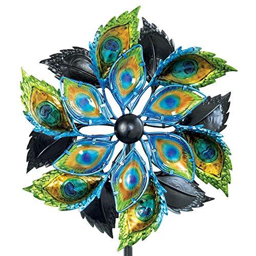 Bits und Teile-Pfauenfeder Wind Spinner-35,6cm Dekorative Kinetic Wind Mill -, Einzigartigen Outdoor Windspinner Rasen und Garten Dekor, Rasen Ornament -