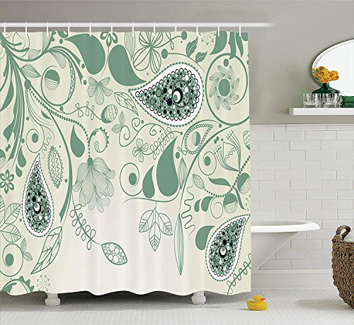 Persian Home Decor (JIEKEIO Paisley Decor Shower Curtain Set, Vintage Floral Paisley Patterns On Retro Art Background Persian Style Home Decor, Bathroom Accessories,60 * 72inch inches, Laurel Green)