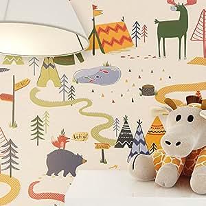 newroom per bambini carta da parati beige carta da parati Kids, kindgerecht bella moderne e aspetto raffinato per bambini, ragazzi o ragazze, incluso tapezier Rat GEBER