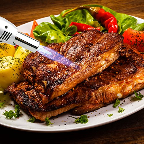 Philonext Torcia Cucina Accenditore a Torcia per Cucinare Fiamma Ossidrica Torcia a Gas per Cottura Alimenti Torcia Cucina per il Barbecue (Silver) - 6