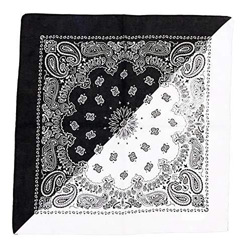 Unbekannt Bandana Kopftuch Halstuch Nickituch Biker Tuch Motorad Tuch verschied. Farben Paisley Muster, Schwarz/Weiß Double, ... (Weiß Schwarz & Paisley)