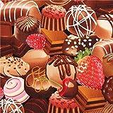 Schwarzer Pralinen Süßigkeiten Stoff Timeless Treasures