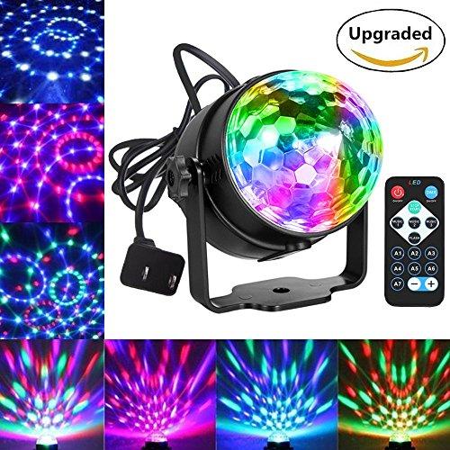 Blingco Mini LED Licht Rotation Automatisch Bühnenbeleuchtung 3W RGB Sprachaktiviertes Kristall Magic Ball Bühnenlicht mit Controller für DJ Disco Ballsaal KTV Stab Stadium Club Party -