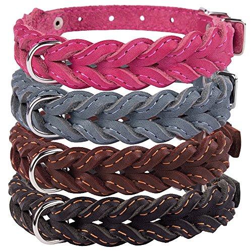 CollarDirect Geflochten Hund Halsband, Echtes Leder Pet Halsband für Hunde Small Medium Large Schwarz Braun Pink Grau, Neck Fit 18