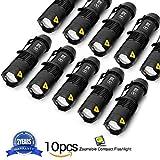 10 Stück Mini Cree Q5 LED EDC Taschenlampe 7W 350LM Extrem Hell Taktische Led-taschenlampe Einstellbarer Fokus Klein Handlampe für Startseite, Auto & Reiten, Camping, Wandern Outdoor Aktivitäten