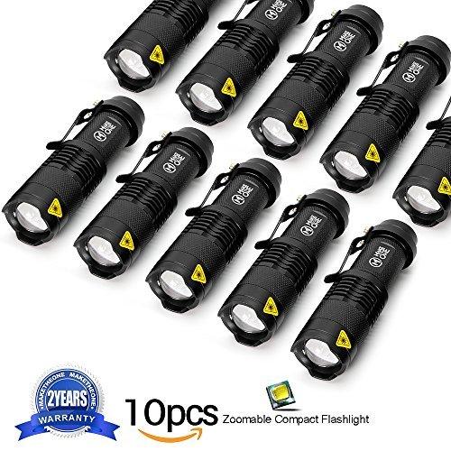 Torcia piccola torce led tattica militare alta potenza 7w 350 lumen zoomable 3 modalità portatile flashlights buono per campeggio, pesca, esterno, auto, uso domestico(10 pezzi)