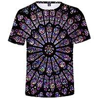 Impresión 3D Camiseta Gran Tamaño Suelto Tee Notre Dama Delaware París Impresión Camiseta Unisexo/Negro/XL