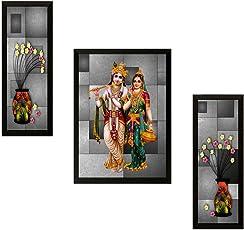 Saf Uv Textured Radha Krishna Print Framed Painting Set Of 3 For Home Decoration - Size 35 X 2 X 50 Cm