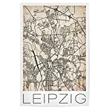 artboxONE Poster 30x20 cm Retro Map Leipzig Germany von Künstler David Springmeyer