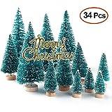 Lulalula - Mini alberi di Natale artificiali, con luci multicolore, da tavolo, per decorazioni fai-da-te, dai 46 ai 61 cm (18/24'), Sisal, Verde., A1 - 34Pcs