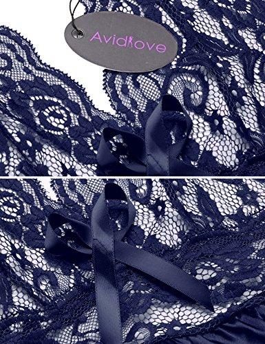 avidlove Damen Nachthemd Marineblau