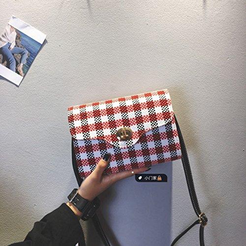 Pacchetto LiZhen femmina coreano nuovo stile Harajuku sub-pacchetto a mano elegante e versatile venti locali spalla un Algebra lineare pacchetto, la piccola griglia rossa La griglia rosso