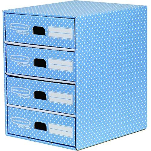 Bankers Box Style Series Schubladenturm aus 100{510fcb9857646b28d27c12e9ee76c57fa1b114fa210be04cf06ec5afac19a09e} recyceltem Karton, blau/weiß