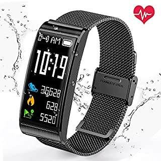 Aodoor Waterproof up to Fitness Watch–Heart Rate Monitor Calorie Counter Fitness and Wellness Activity Tracker Whatsapp Smart Watch Smart Bracelet Watch Vibrating Alert Note Compatible with iOS Android Cell Phone (Black)