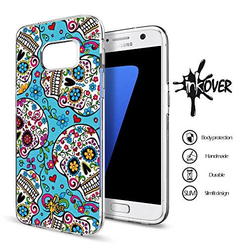 Custodia Cover Guscio Bumper Trasparente Slim Fit Tpu Gel Morbida INKOVER Design SKULL Teschio Messicano Teschi Messicani Colorati Tattoo per Samsung GALAXY S5