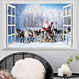 Brilliant ! Christmas 3D Window View Wall Stickers Xmas Wallpaper Realistic Mural Creative Removable Decals Art New Year Home Decoration - Viahwyt (B)