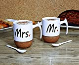 #5: My Party Suppliers Mr and Mrs Ceramic Coffee Mugs Set of 2 - Novelty Mr and Mrs Coffee Tea Cups 9.5 oz With Cork Bottom. Comes In A Gift Box, For Parents, Anniversary, Mom and Dad, Couples