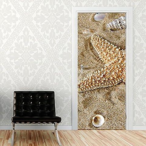 Imagen Puerta por un baño de mar conchas marinas playa de arena (92x205cm)