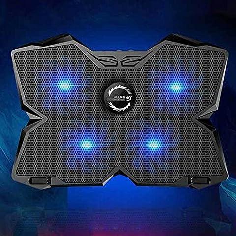 Ailier support ventilé pour ordinateur portable 43,2cm Silencieux support refroidisseur avec 2ports USB 4ventilateurs et LED bleue ventilateurs à 1200RPM Poids léger Ultra-Portable Vitesse